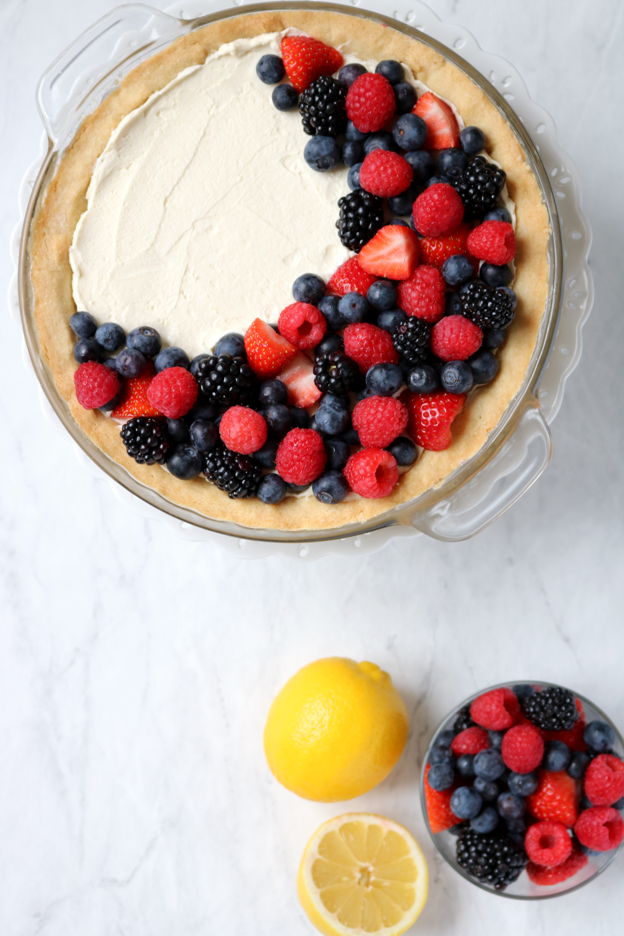 Simple Lemon Berry Pie - delicious lemon mascarpone cream pie with mixed berries on top | via Pies Before Guys