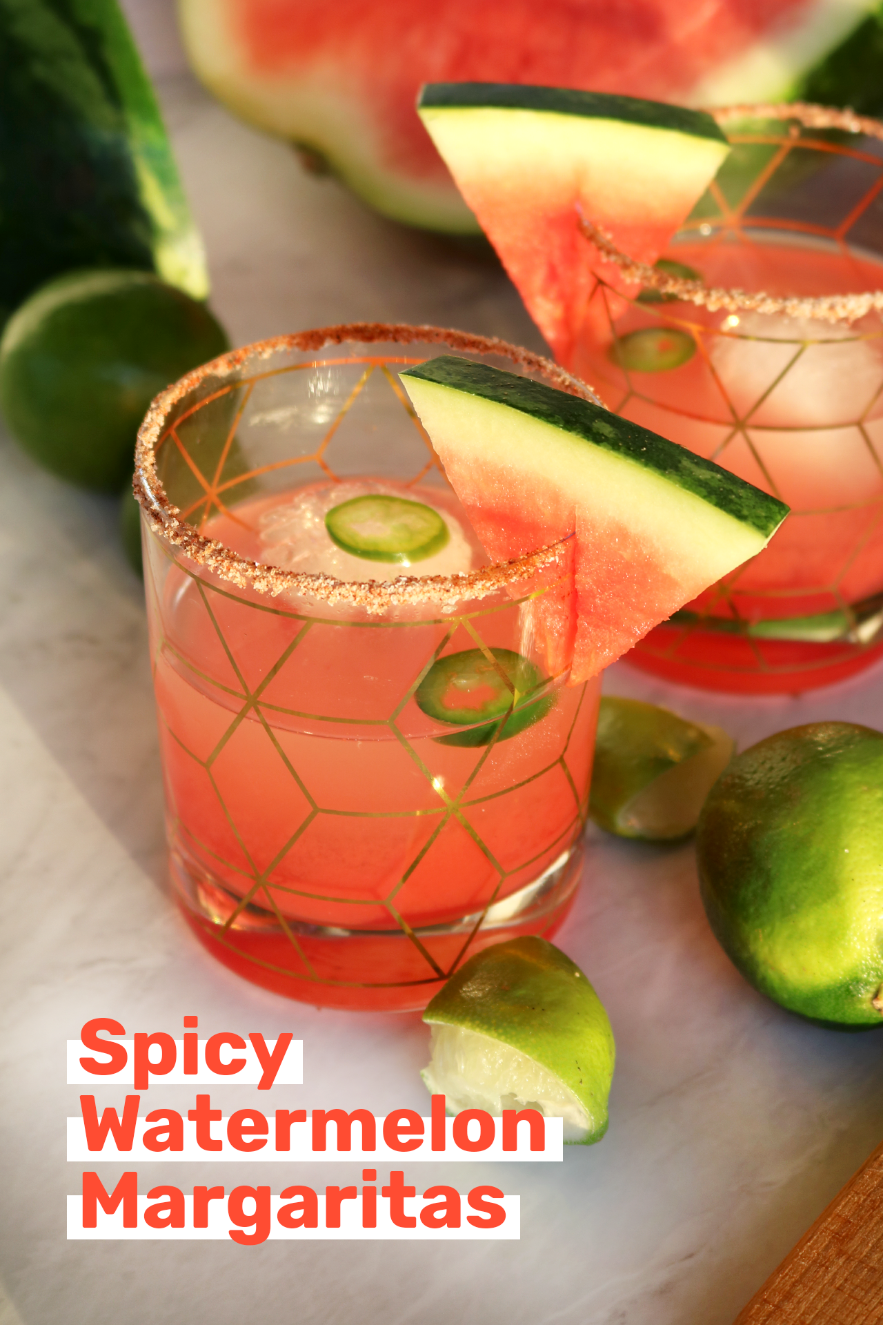 Spicy Watermelon Margaritas | via allspice blog